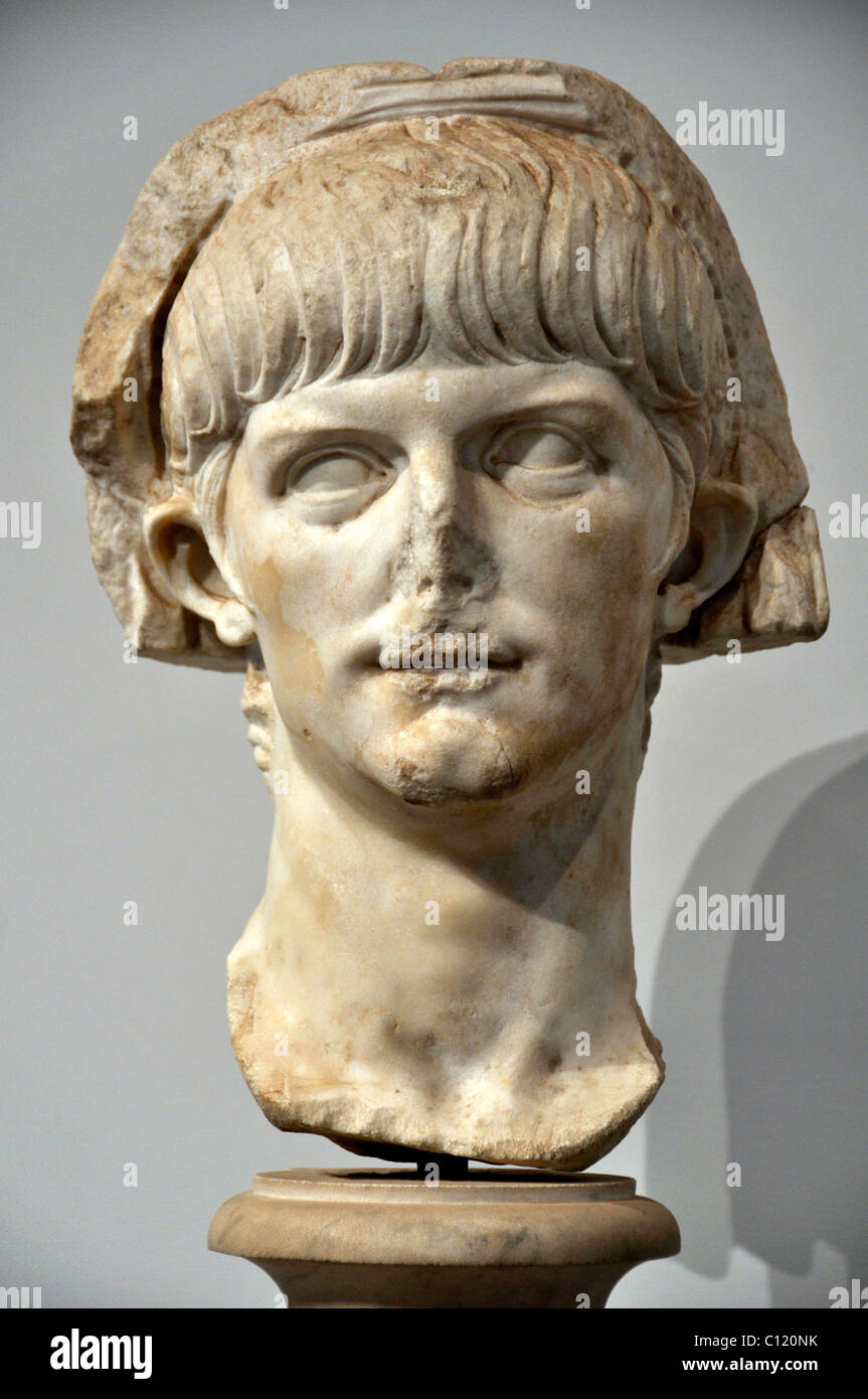 Ancient marble bust of the young Roman emperor Nero, Museo Palatino, Palatino, Rome, Lazio, Italy, Europe - Stock Image