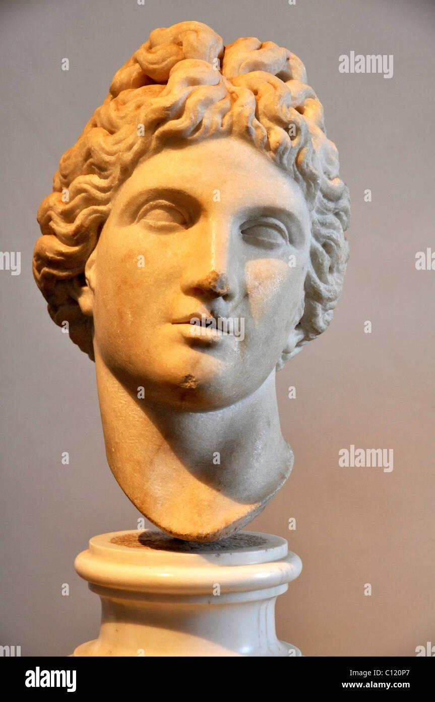 Ancient marble bust of god Apollo, Museo Palatino, Palatino, Rome, Lazio, Italy, Europe - Stock Image