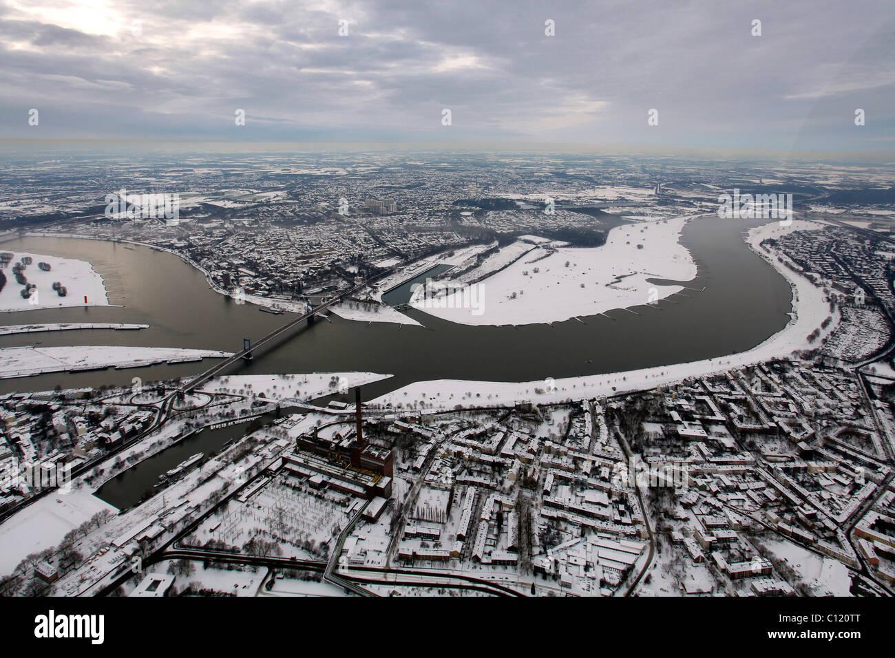 Aerial photo, inland harbour, Duisport, Duisburg Harbor, Ruhrort, Duisburg, Ruhr, North Rhine-Westphalia, Germany, - Stock Image