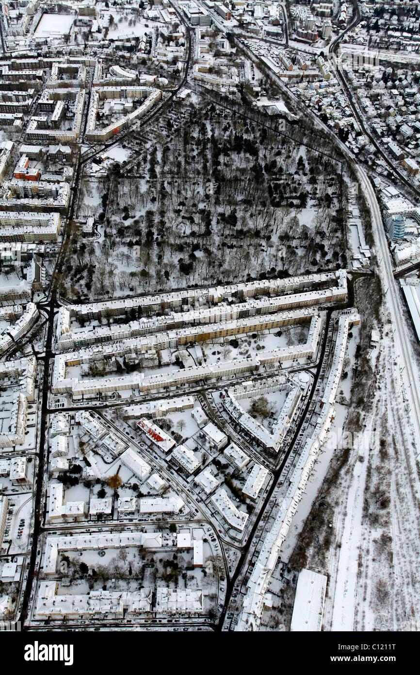 Aerial view, city blocks, rented apartments, Duesseldorfer Strasse street, Ostpark, Dortmund, Ruhrgebiet region - Stock Image
