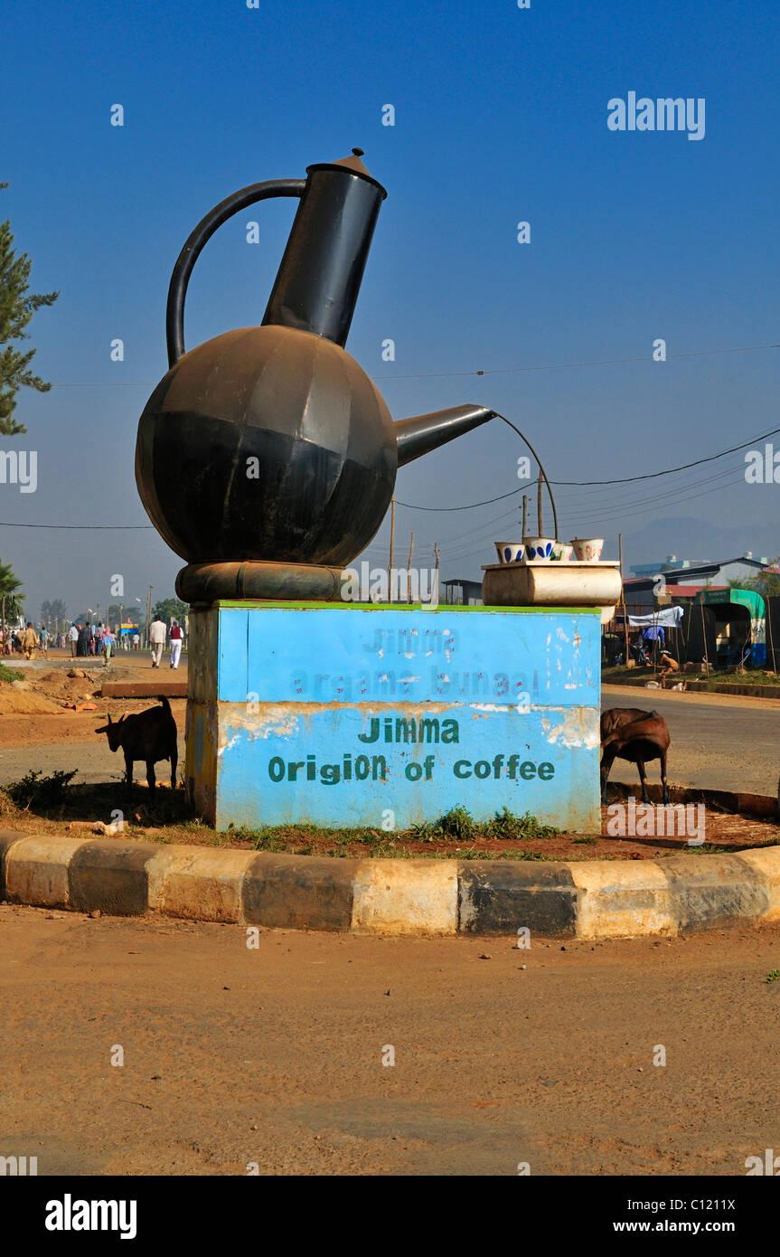 Coffee pot roundabout in Jimma, Kaffa region, Oromia, Ethiopia, Africa - Stock Image