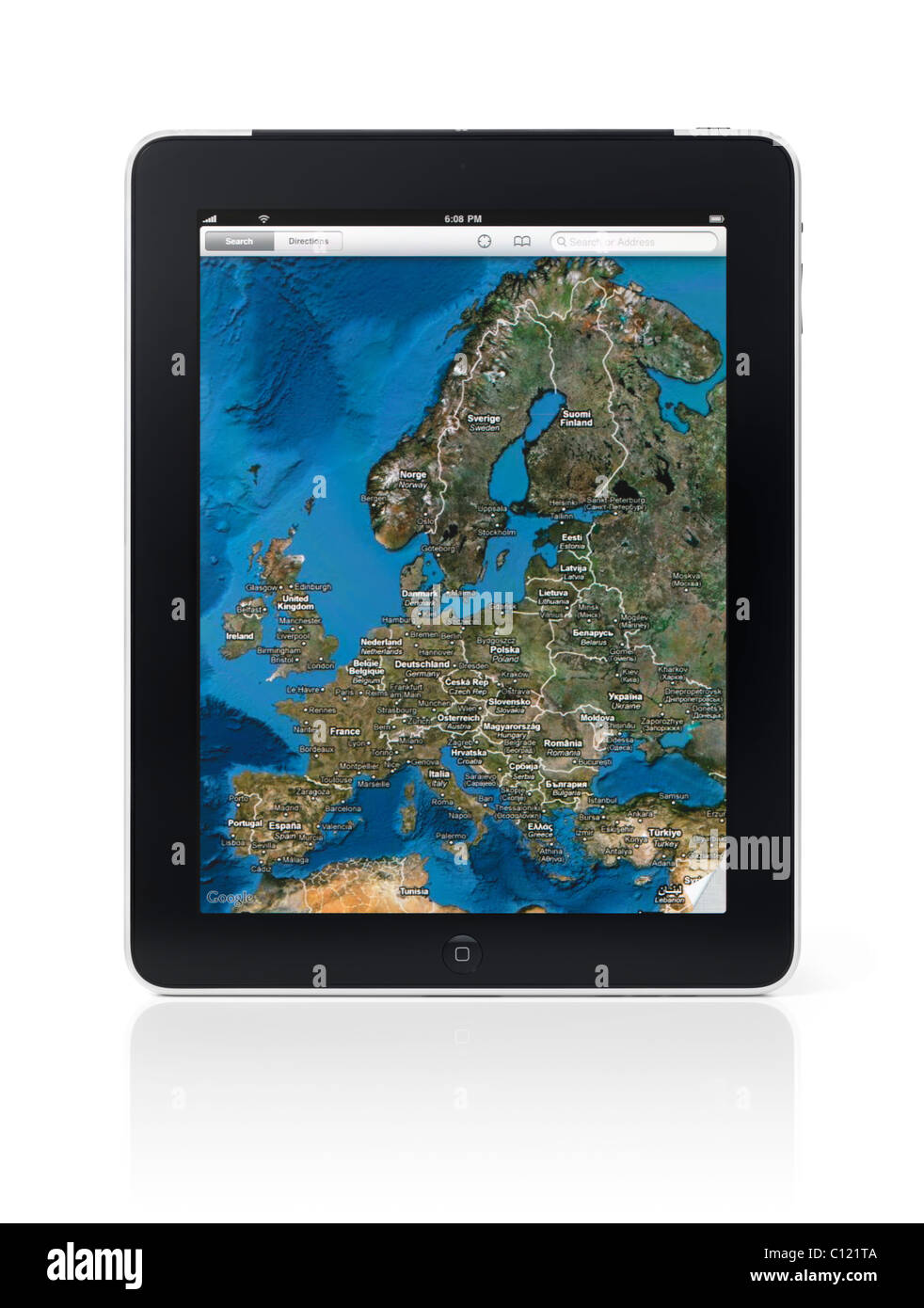 Apple iPad 3G tablet with Google maps displaying the map of ... on click map, greater china map, google map, android map, java map, venice venice louisianna bay map, microsoft map, 3m map, at&t map, mobile map,
