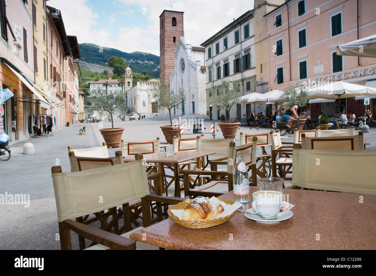 Cappuccino and croissant in the restaurant Gatto Nero, Piazza Carducci, Pietrasanta, Tuscany, Italy, Europe Stock Photo