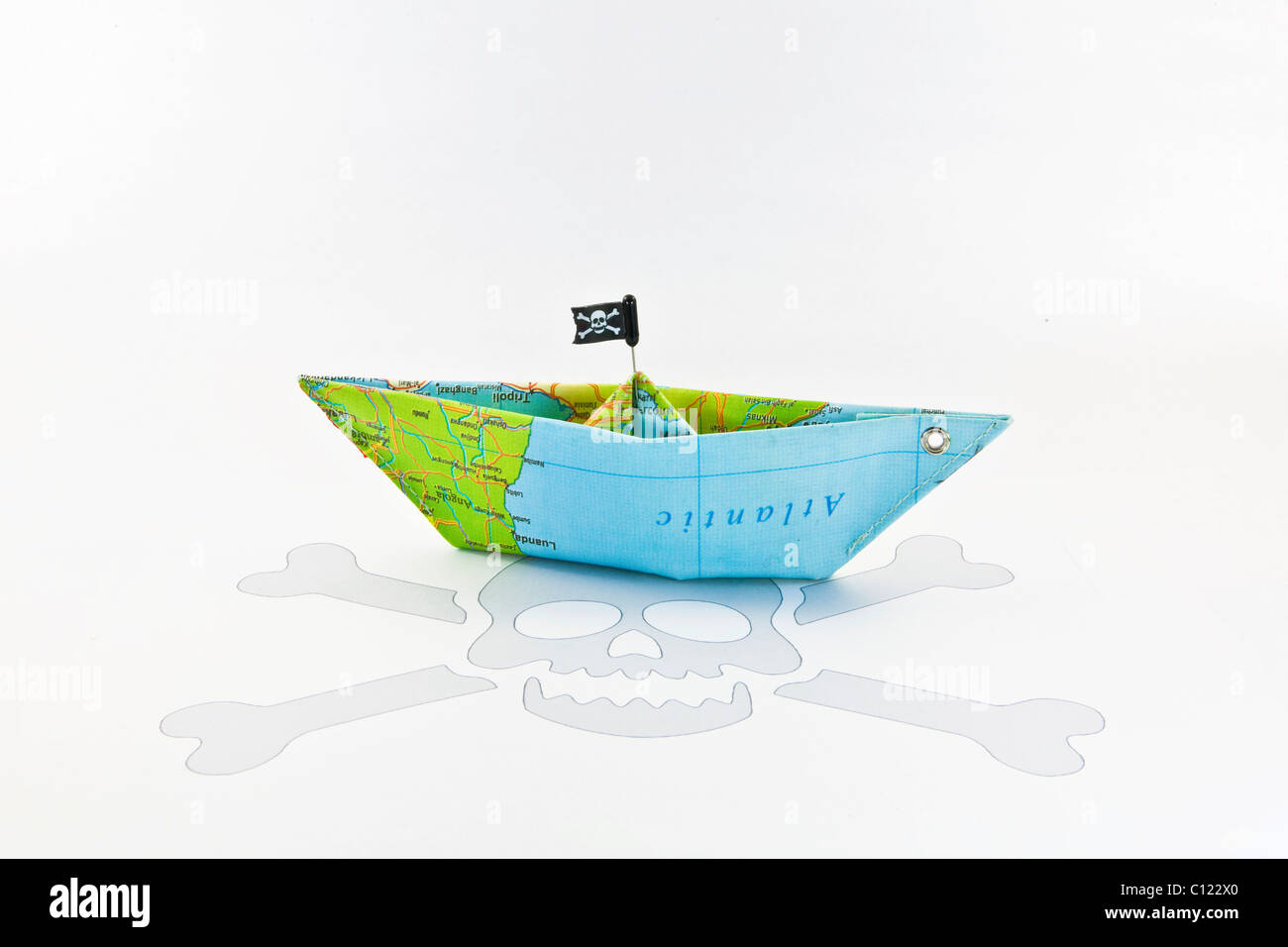 Pirate ship, piracy, money, symbolic image for ransom in a foreign currency - Stock Image