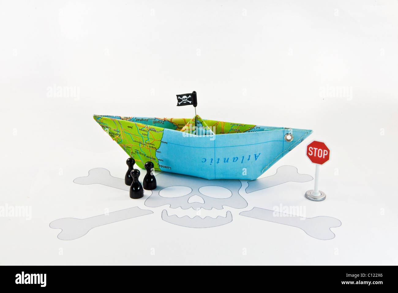 Pirate ship, symbolic image for stopping piracy - Stock Image