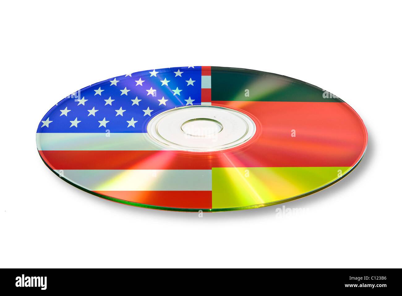 Symbolic image data exchange, account information, on CD, DVD, Germany - USA - Stock Image