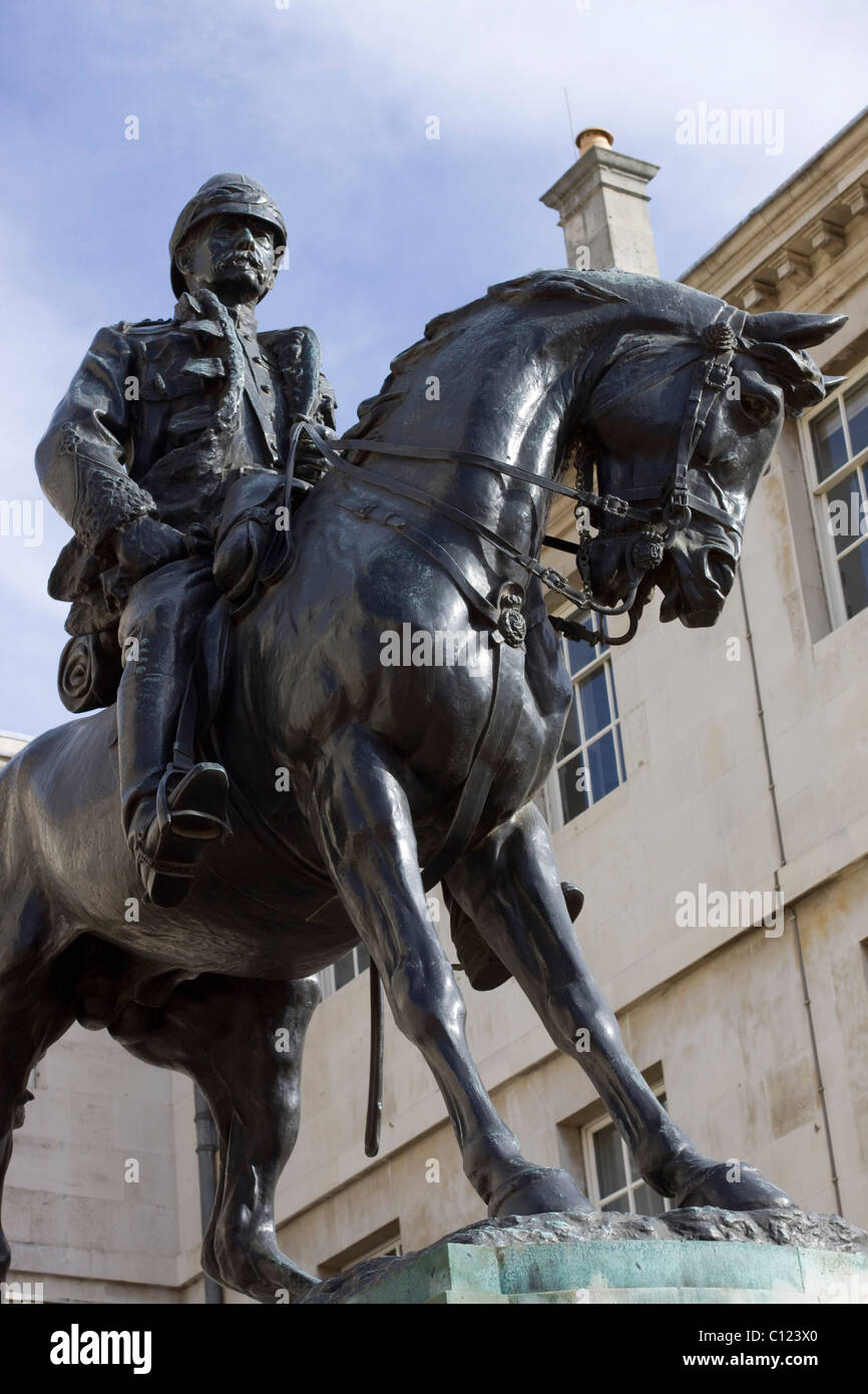 A Bronze Statue of Field Marshal The Rt. Hon. Sir Frederick Sleigh Roberts, 1st Earl Roberts on his Horse in Horse - Stock Image
