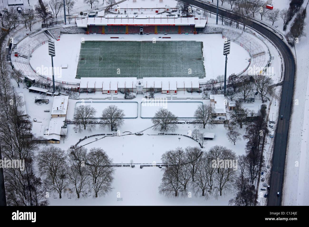 Aerial view, RWO Stadion stadium, snow, Oberhausen, Ruhrgebiet region, North Rhine-Westphalia, Germany, Europe - Stock Image