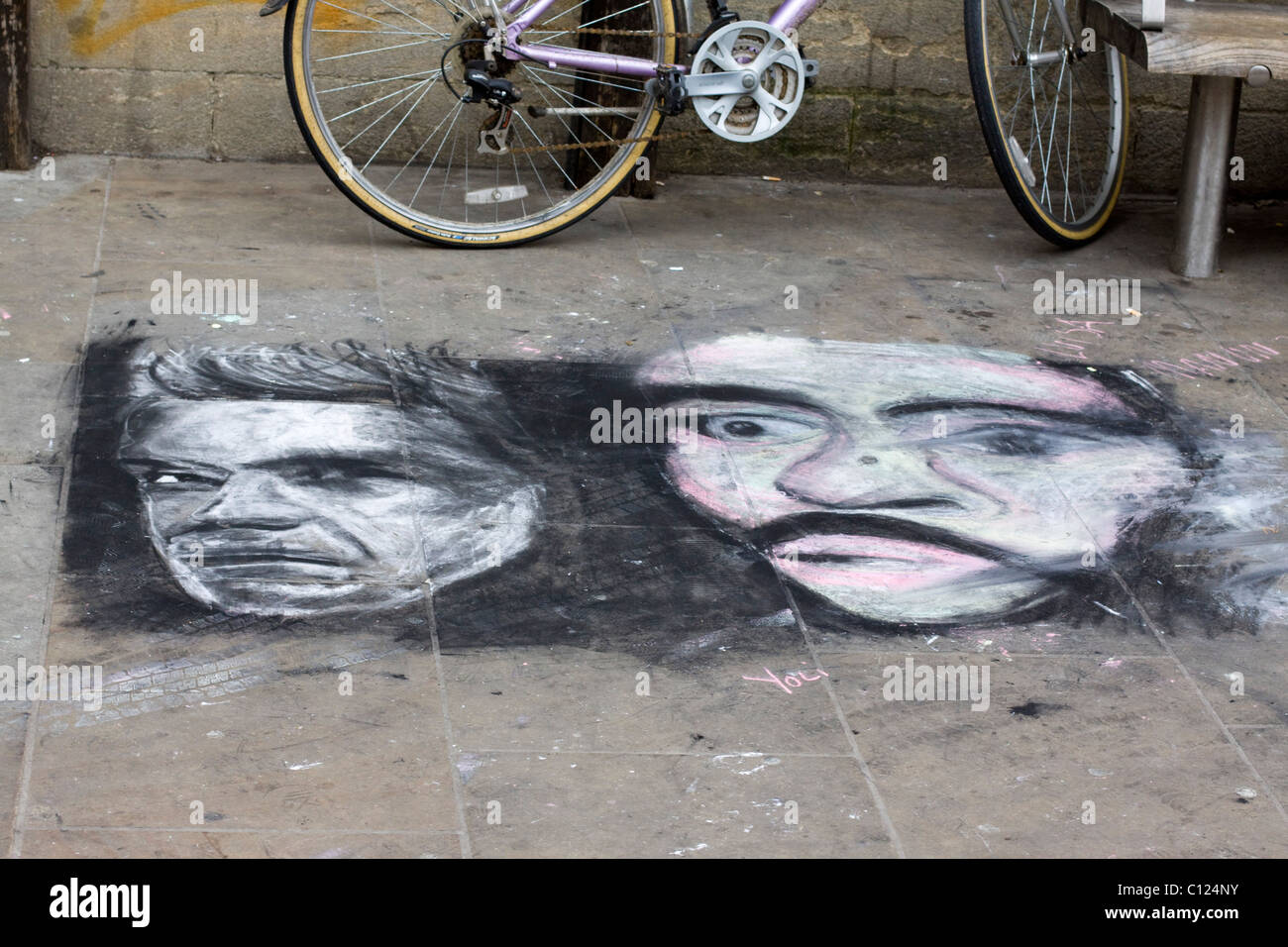 Art on the pavement in Oxfordshire England - Stock Image