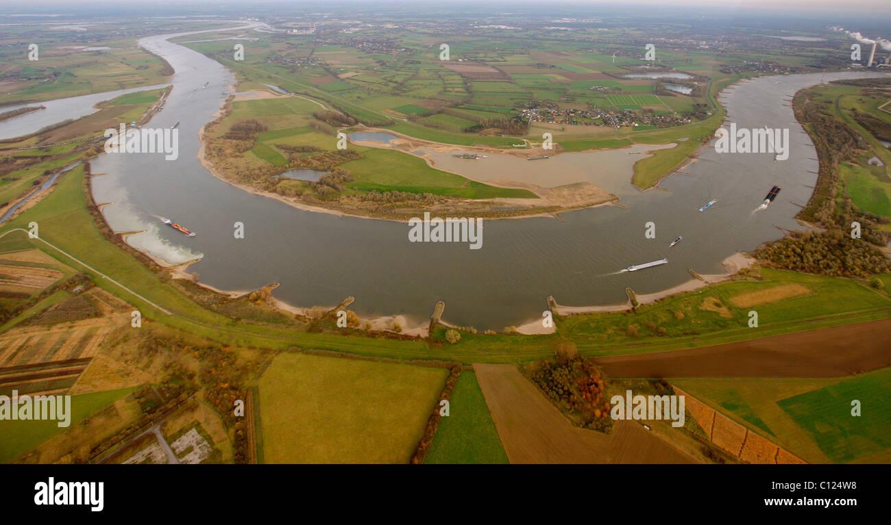 Aerial view, Grint, Mehrum, flood plains of the Rhine river, river bend Rheinbogen Mehrum, Voerde, North Rhine-Westphalia Stock Photo