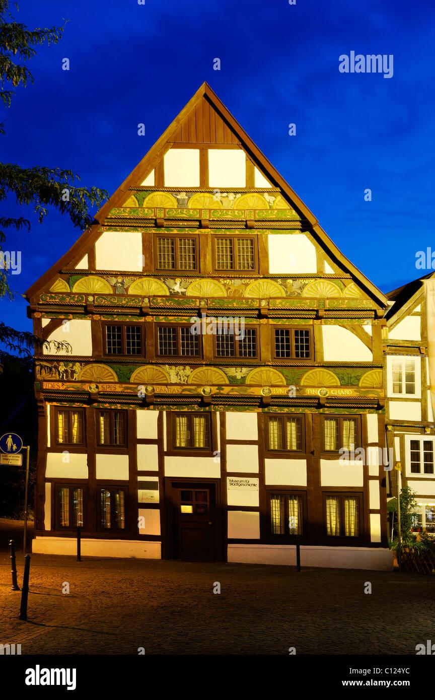 Adam-und-Eva-Haus, Hathumarstrasse, Paderborn, North Rhine-Westphalia, Germany, Europe - Stock Image