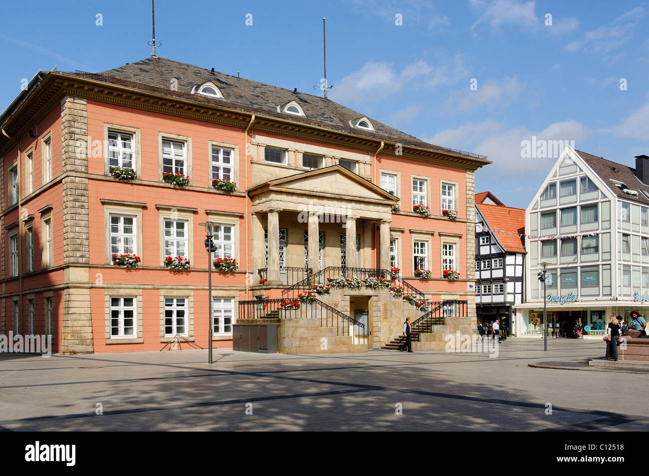 Market square with city hall from 1828-1830, Detmold, North Rhine-Westphalia, Germany, Europe Stock Photo