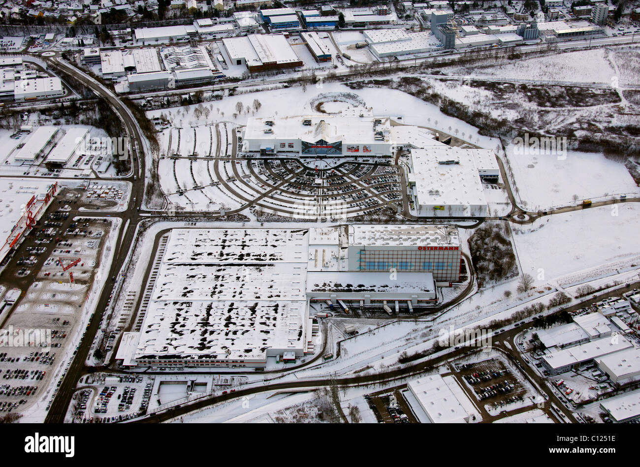 Aerial View Furniture Store Ostermann Parking Lot Snow Witten