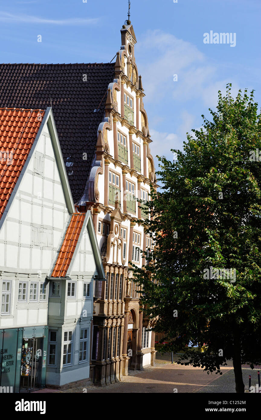 Hexenbuergermeisterhaus museum, built 1568-1571, Lemgo, North Rhine-Westphalia, Germany, Europe - Stock Image