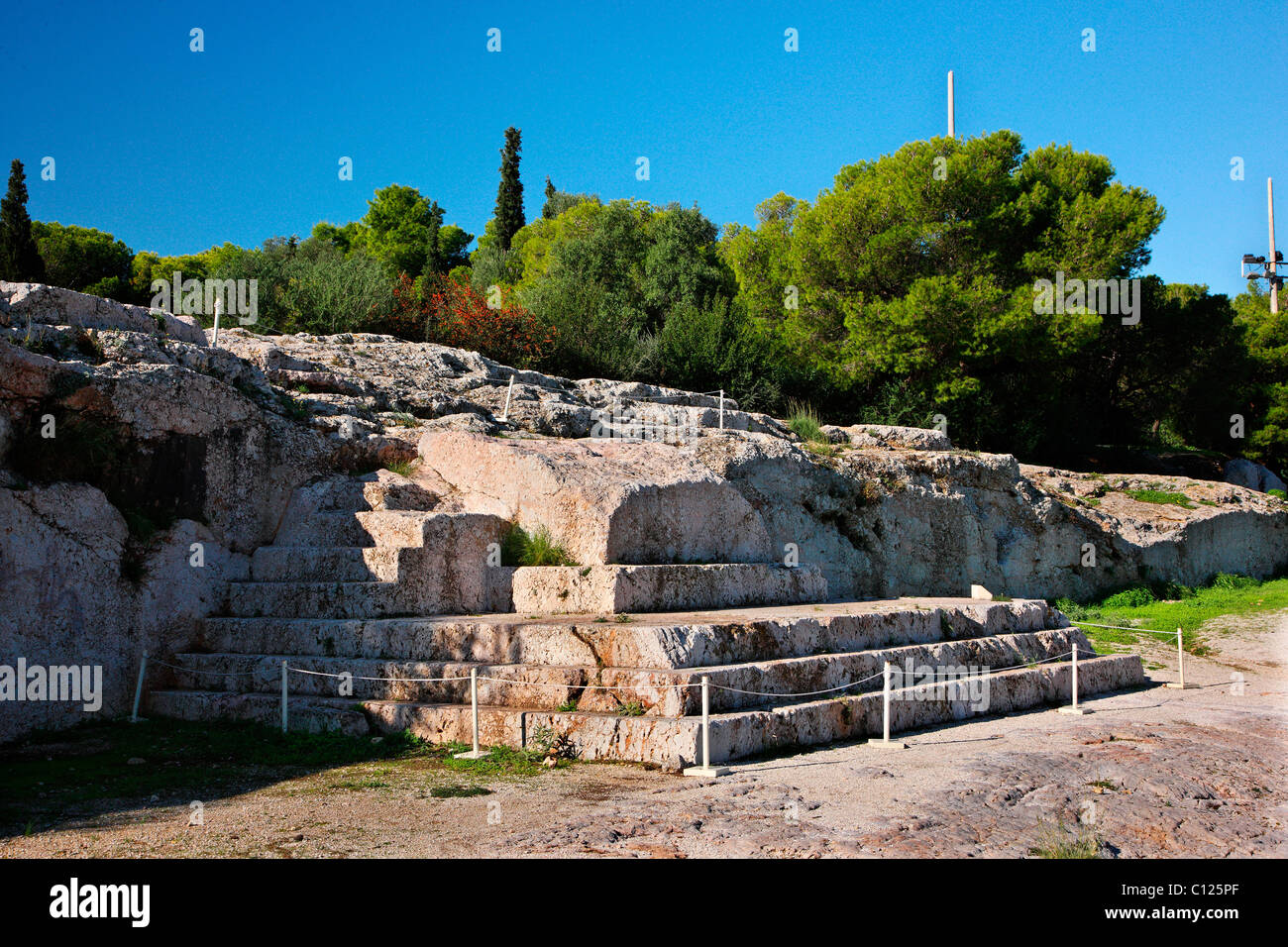 "The ""Bema"" or ""Vema"" of Pnyx, where popular assemblies were taking place in Ancient Athens, Greece. Stock Photo"