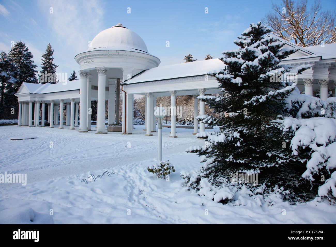 Colonnade, wintry, Marianske Lazne, Czech Republic, Europe - Stock Image