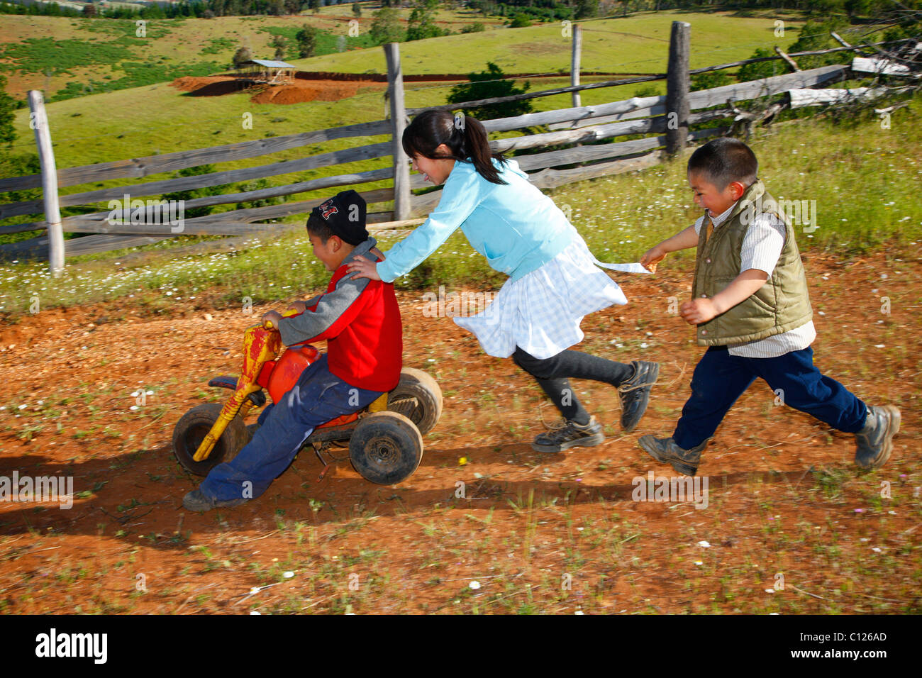 Childre playing with a tricycle, Mapuche Indians, near Concepción, Southern Chile, Chile, South America Stock Photo