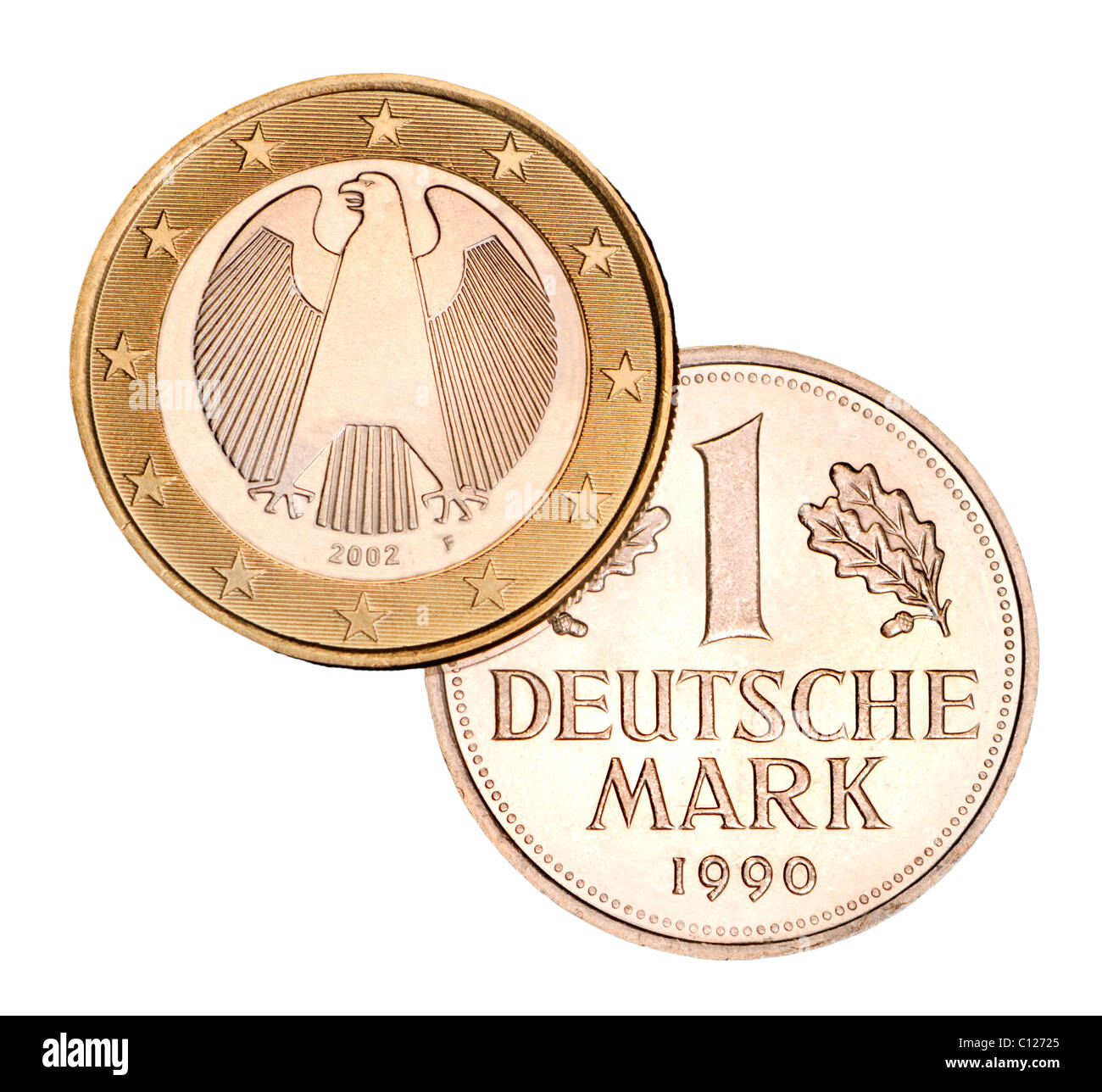 German 1 Euro coin from 2002 and pre-Euro 1 Deutschmark coin from 1990 - Stock Image