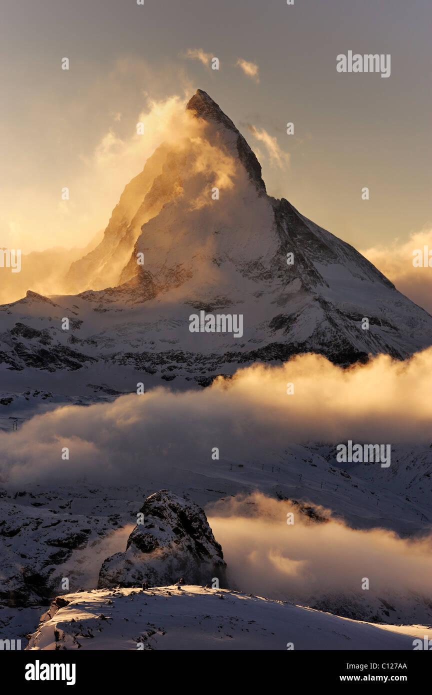 Mt Matterhorn in the light of the setting sun, Zermatt, Valais, Switzerland, Europe, Europe Stock Photo