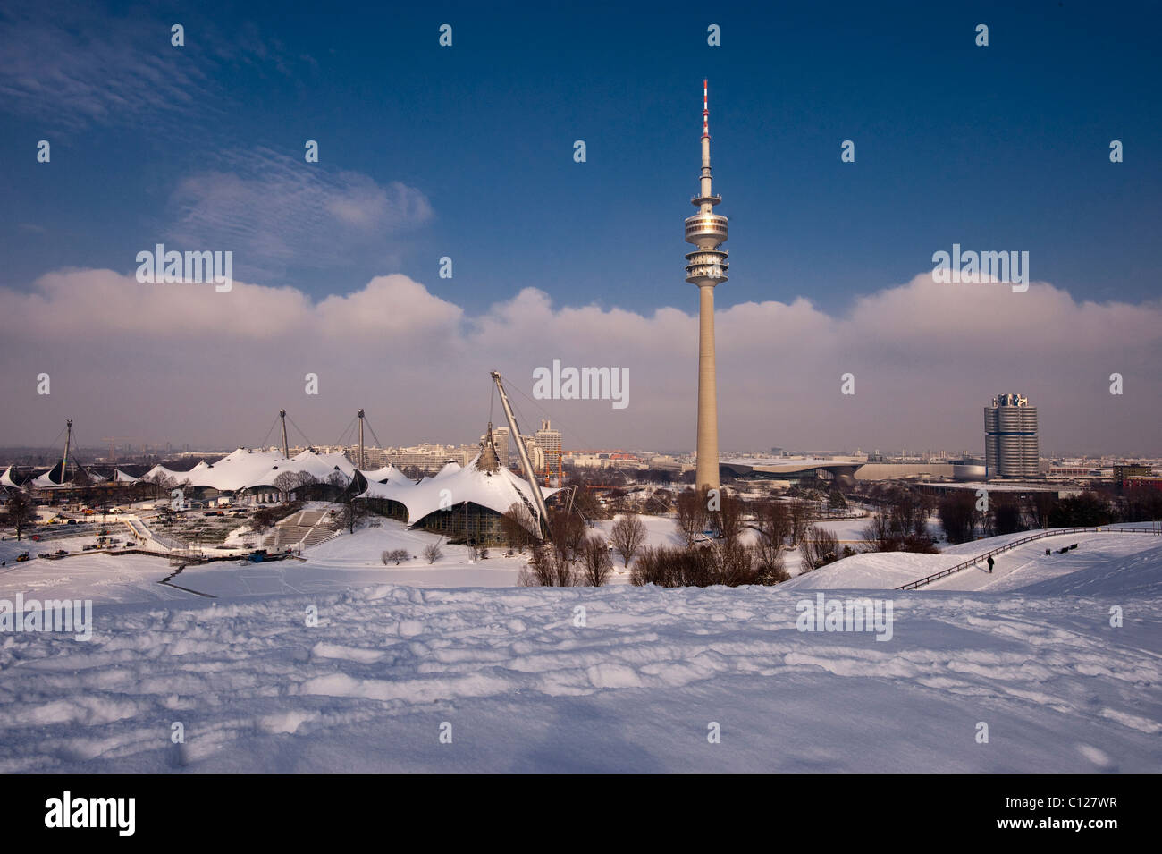 Olympic Tower and BMW Headquarters, Olympic Park, Munich, Bavaria, Germany, Europe - Stock Image
