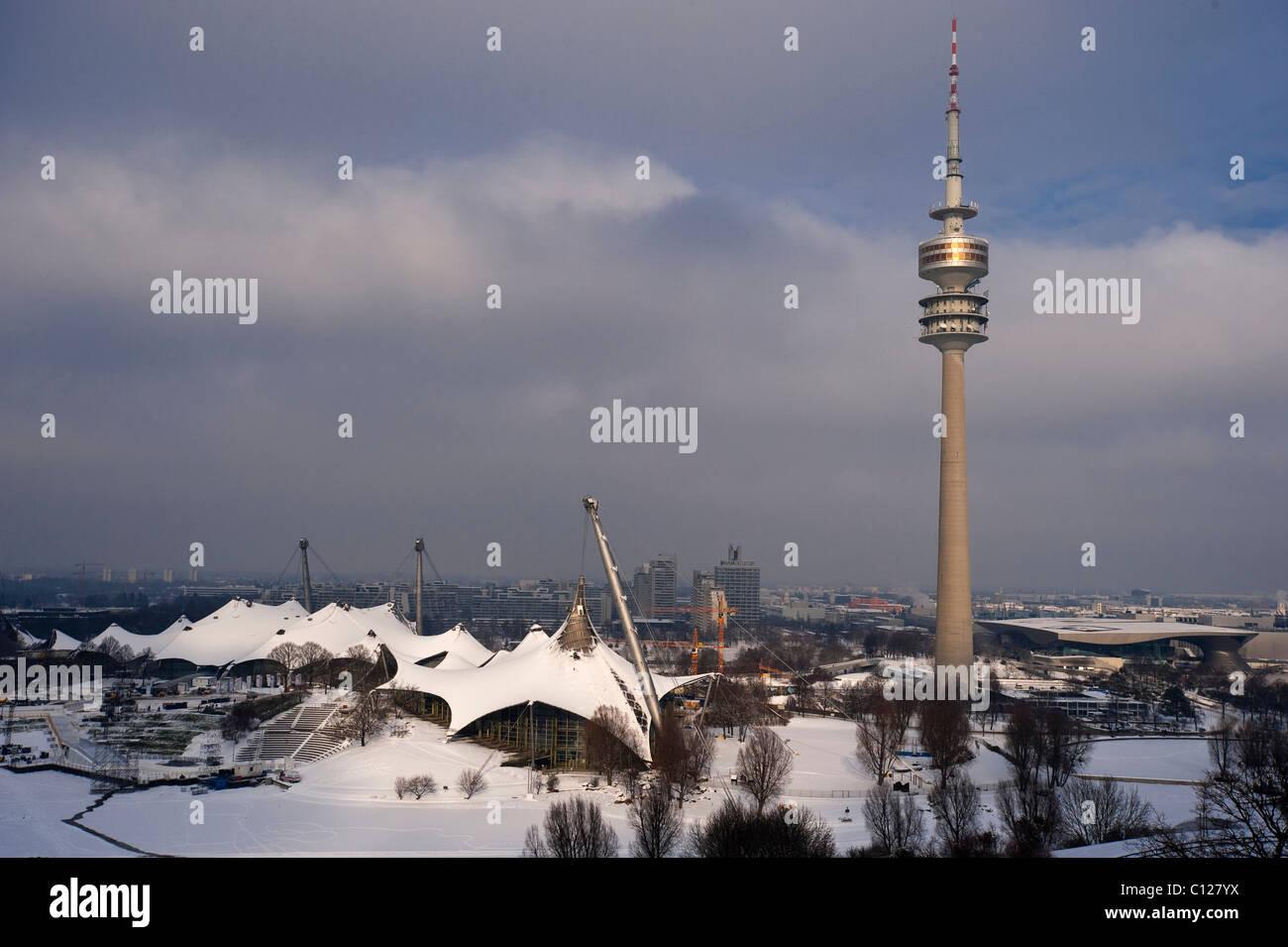 Olympic Tower and Olympic Stadium, Olympic Park, Munich, Bavaria, Germany, Europe - Stock Image