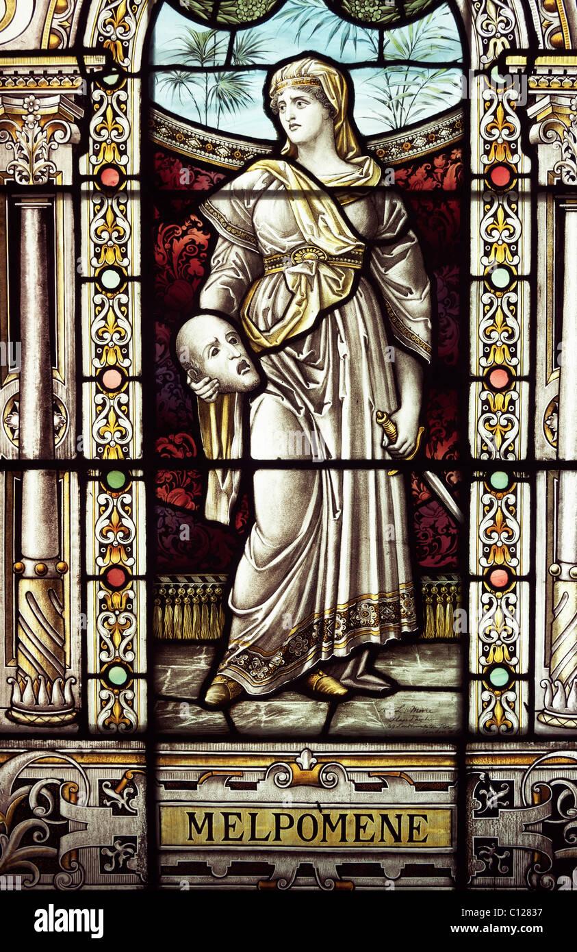 A glass stained window of Melpomene. A Greek Goddess. - Stock Image