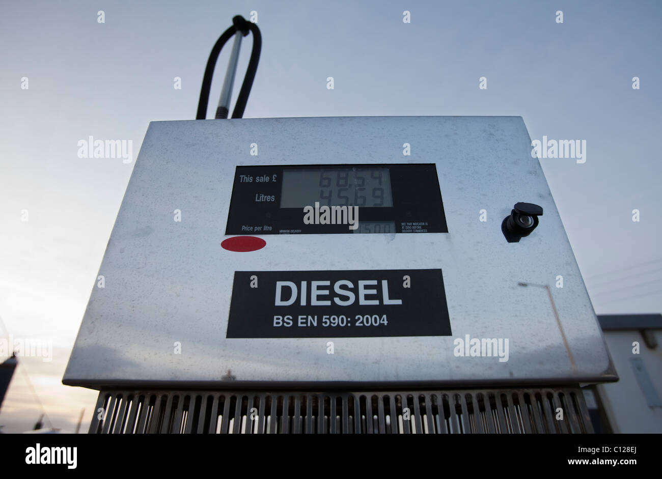 Diesel fuel pump set at £1.50 per litre on the island of Sanday, one of the Orkney isles - Stock Image