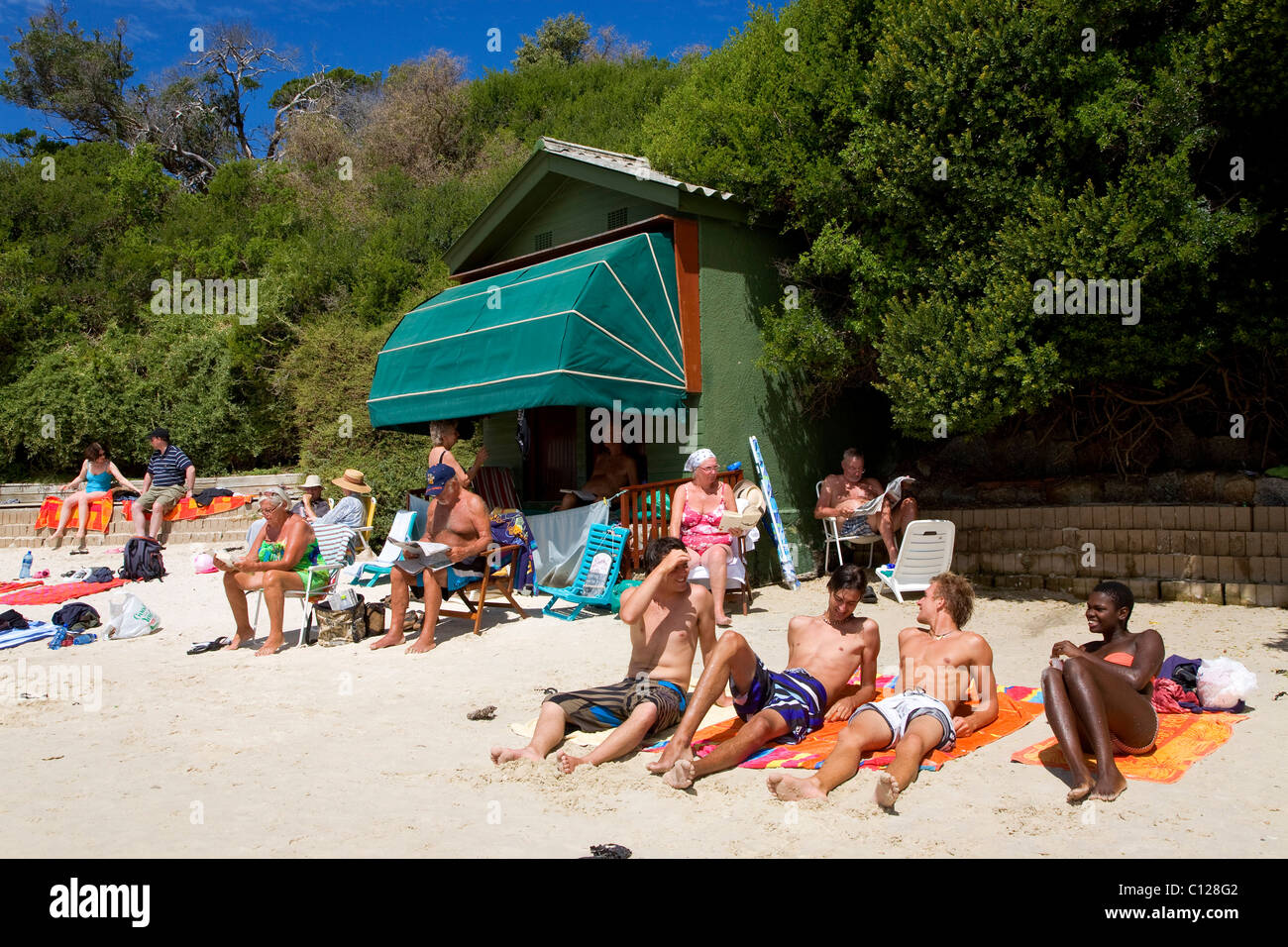 Multiculturalism, sunbathers on Boulders Beach, Western Cape near Cape Town, South Africa, Africa - Stock Image
