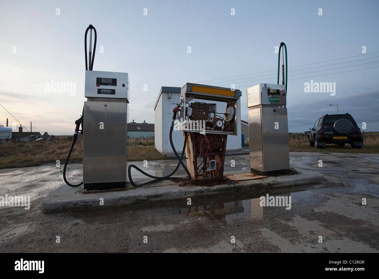 Island petrol station selling diesel and unleaded petrol at £1.50 per litre on the island of Sanday, Orkney - Stock Image
