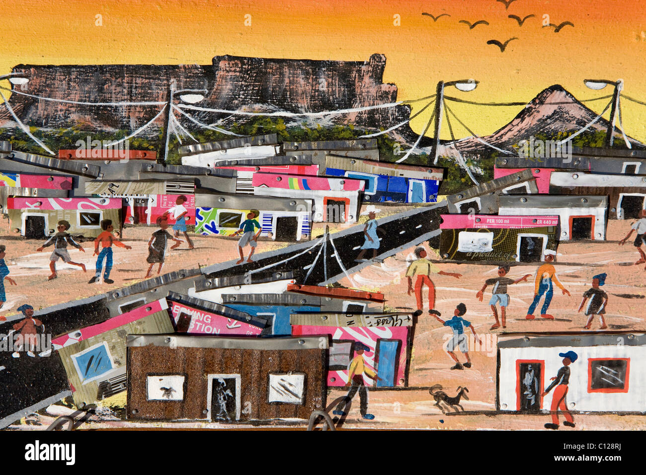 Art from the townships, painted picture decorated with tin cans, township art, South Africa, Africa - Stock Image
