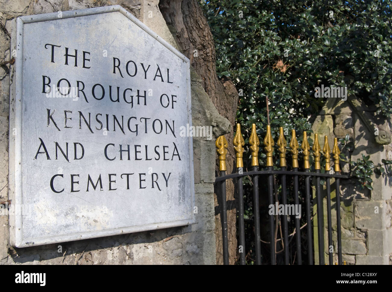 entrance sign for the royal borough of kensington and chelsea cemetery, hanwell, west london, england - Stock Image