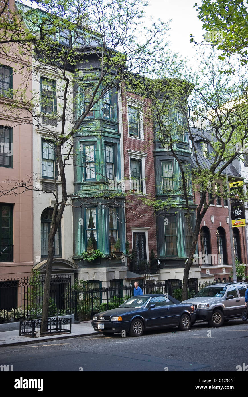 Nineteenth Century houses near Central Park, Manhattan, New York City, USA - Stock Image