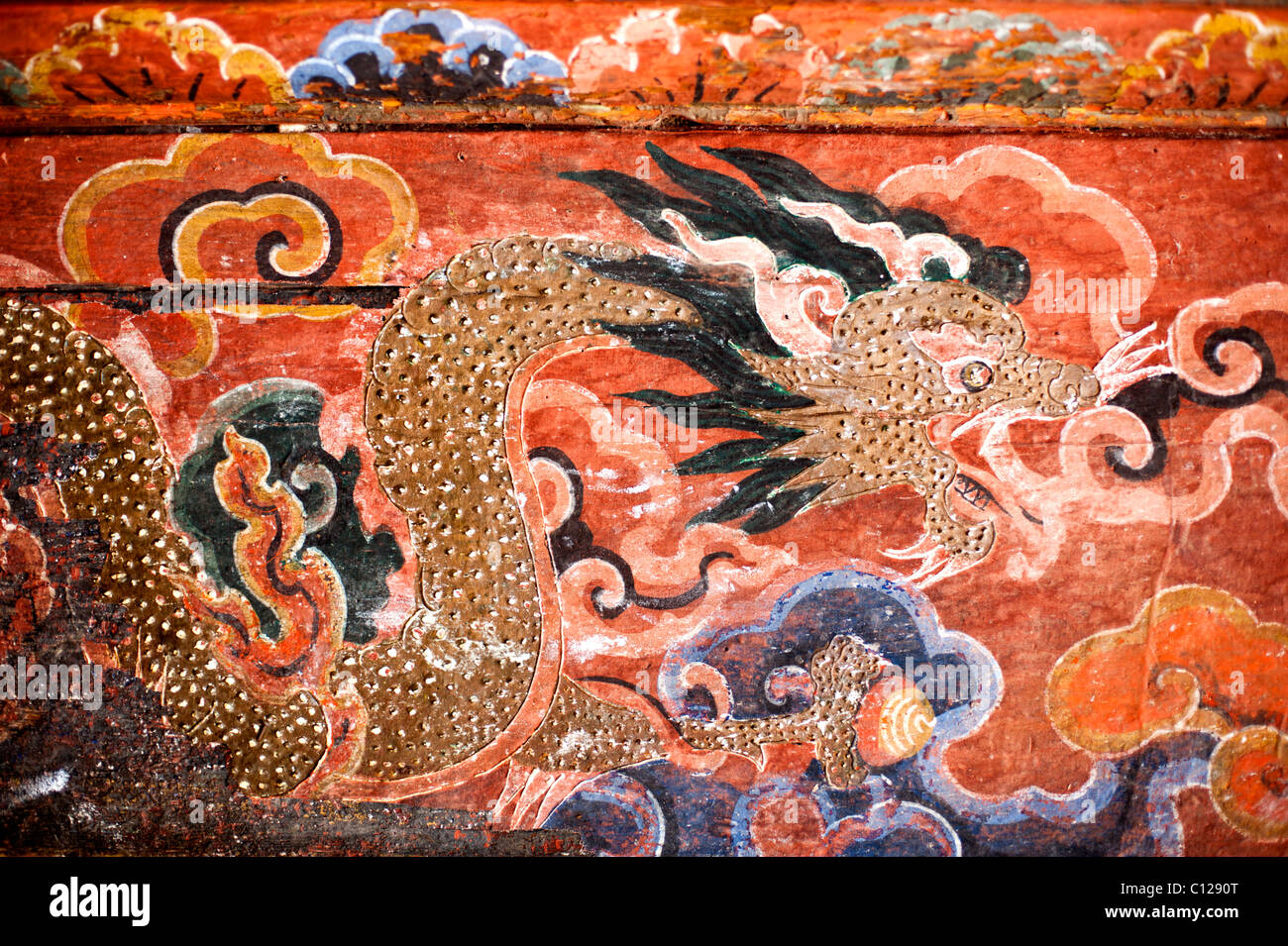 Bhutanese temple art depicting the Thunder Dragon, representative of the Kingdom of Bhutan - Stock Image