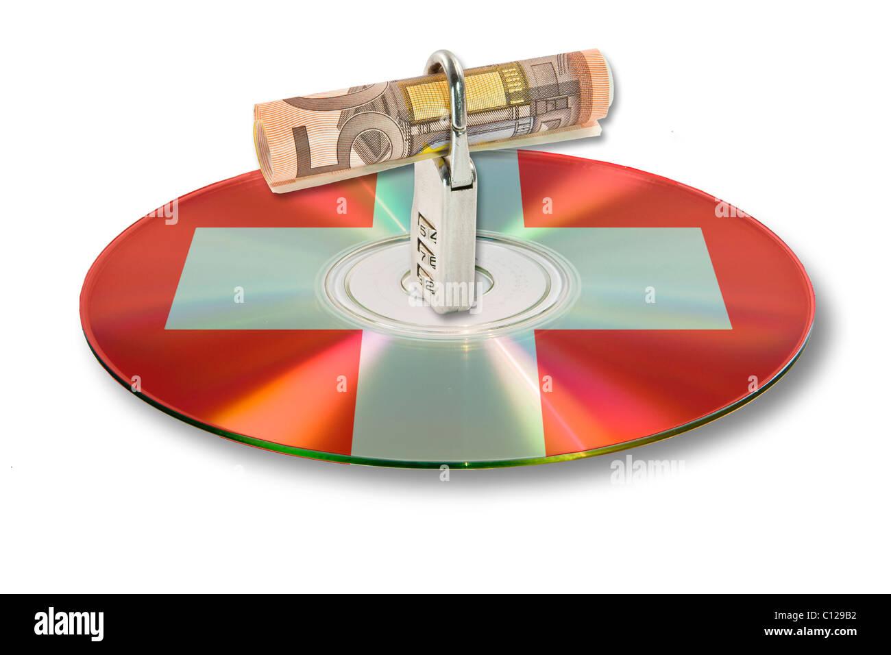 Bill, lock, data, on a CD, DVD, Switzerland, account data - Stock Image