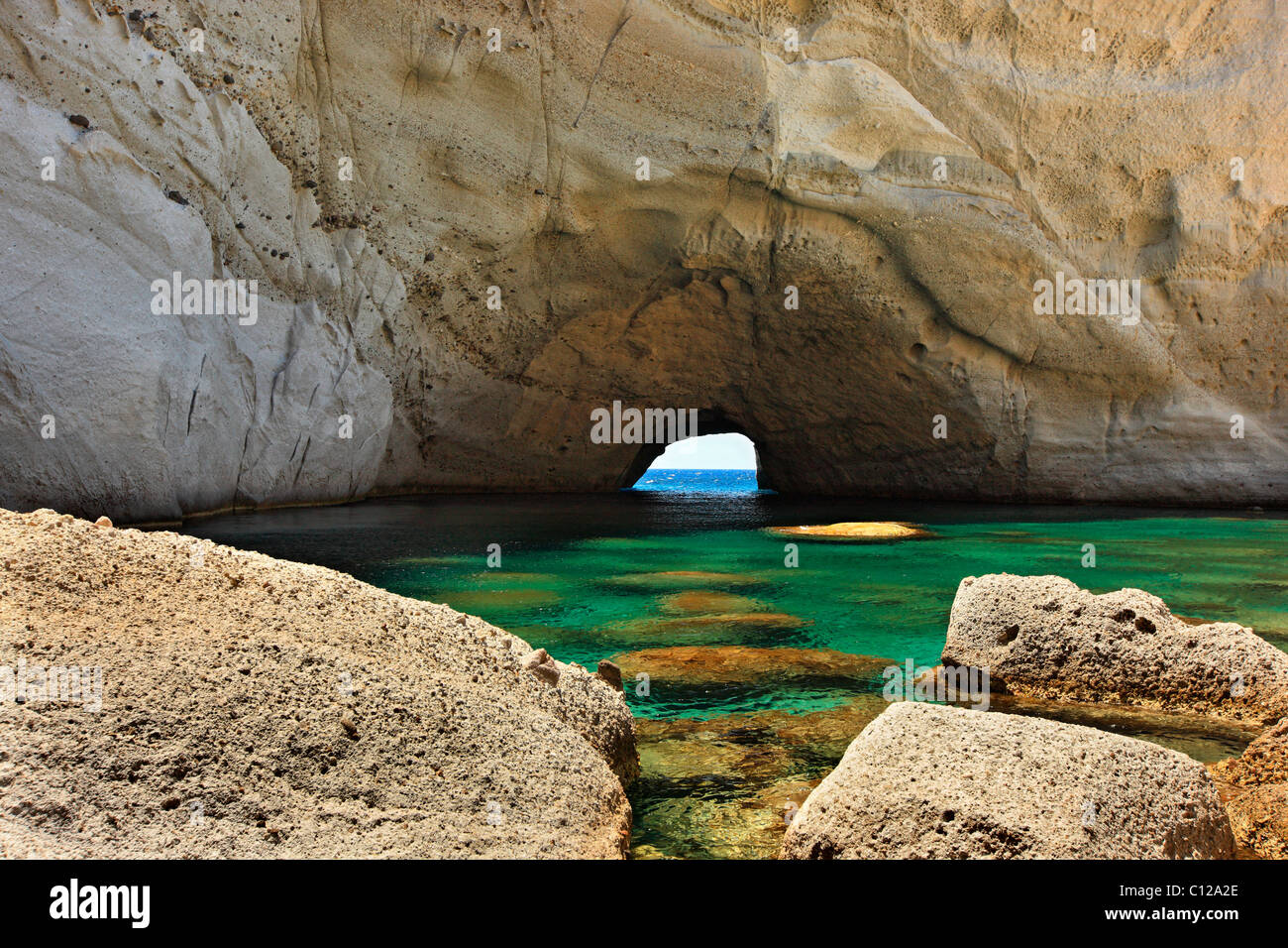 The sea cave of Sykia in Milos island, Cyclades, Greece. - Stock Image