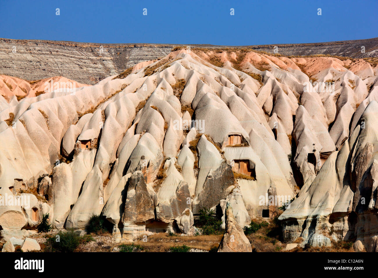 Photo from the 'Sword valley' ('Kiliclar Vadisi') that looks like huge melting vanilla ice cream, - Stock Image