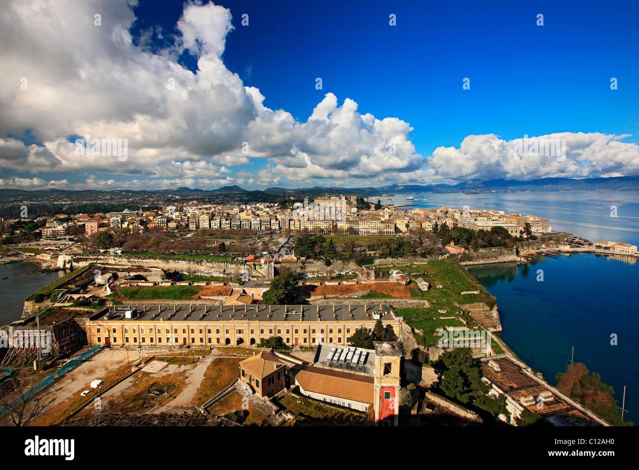 Panoramic view of Corfu town, Kerkyra Island, Greece - Stock Image
