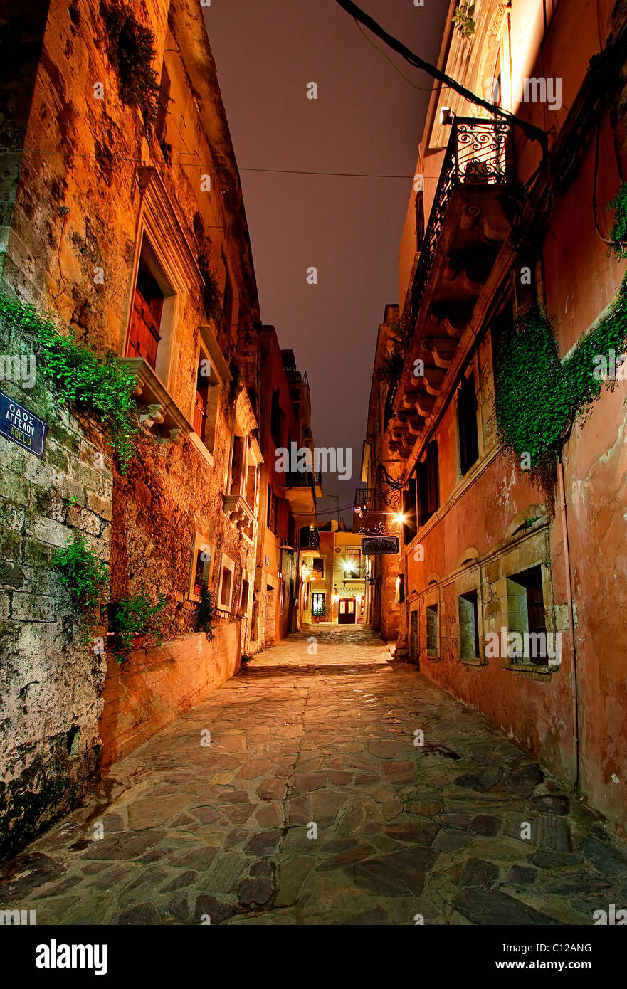A beautiful alley in the old part of Hania town, in the neighborhood called 'Tophanas', at night. Crete, - Stock Image