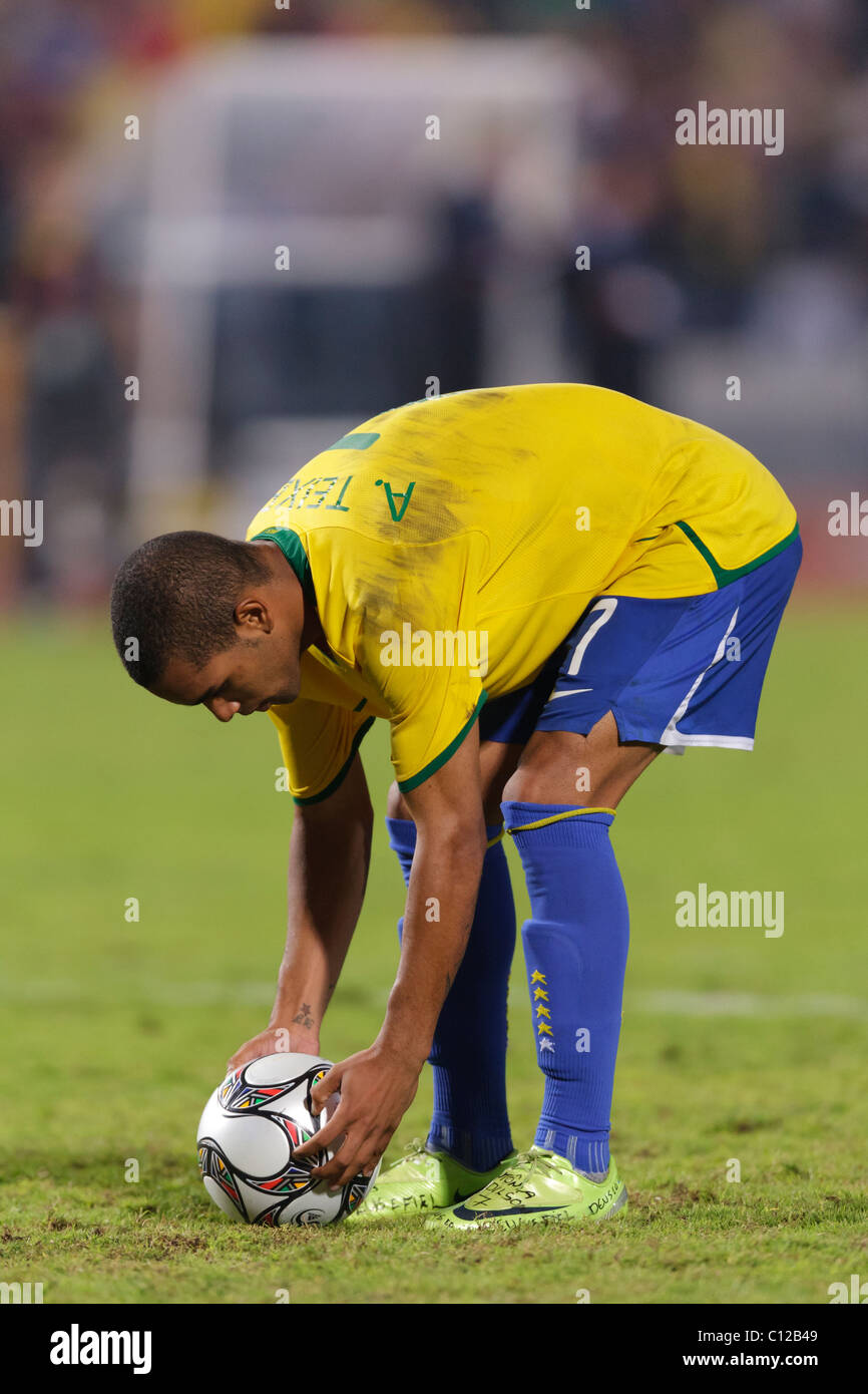 Alex Teixeira of Brazil sets the ball for a penalty kick during a shoot out against Ghana in the 2009 U20 World - Stock Image