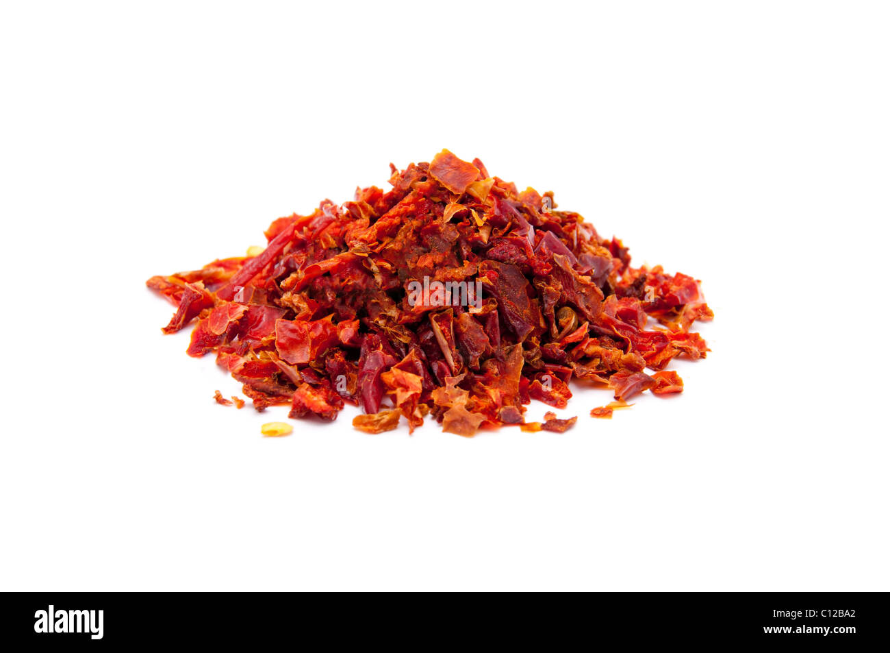 pieces of red sweet peppers - Stock Image