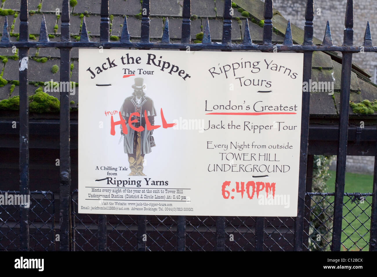 A Poster advertising Jake the Ripper Tours in the city of London England - Stock Image