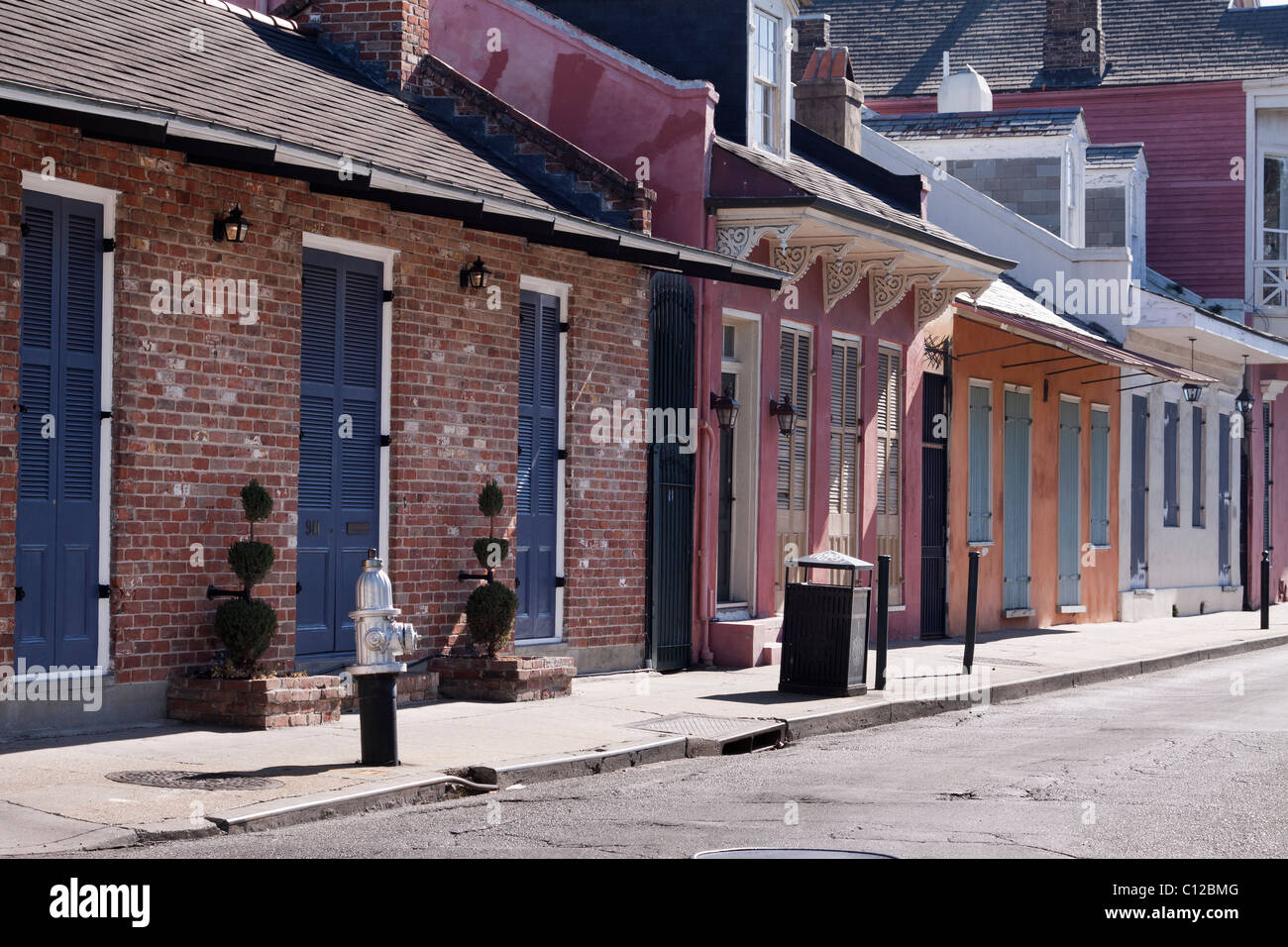 Row of Creole townhouses in the French Quarter of New Orleans, Louisiana - Stock Image
