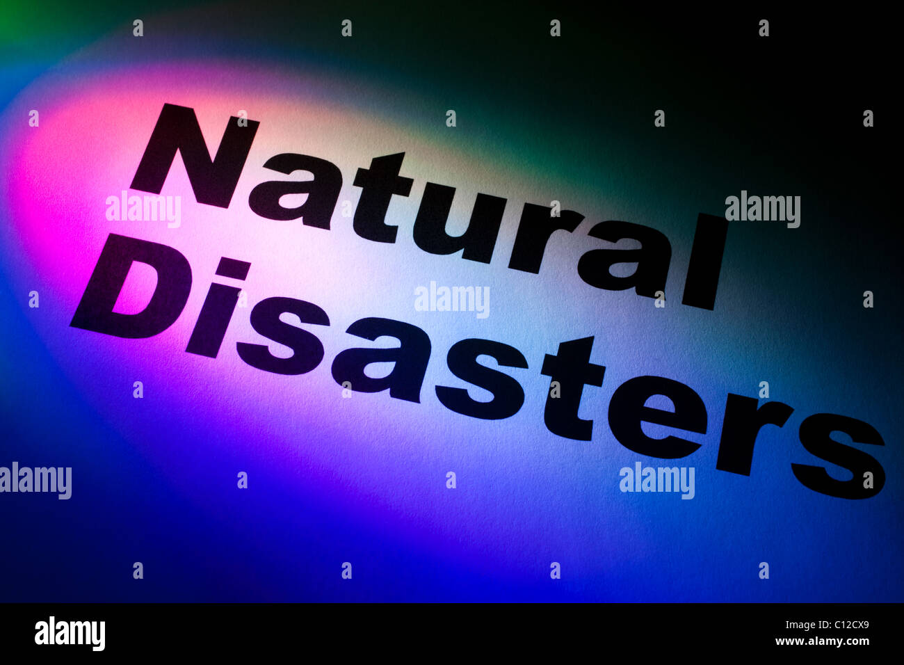 Color light and word of Natural Disasters for background - Stock Image