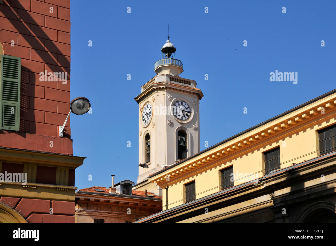 Bell tower of church in Nice in southeastern France, department Alpes maritimes - Stock Image