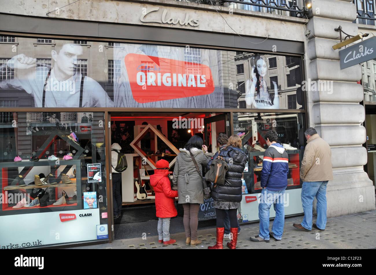 Clarks Originals desert boots suede shoes shop shoe shop Stock Photo