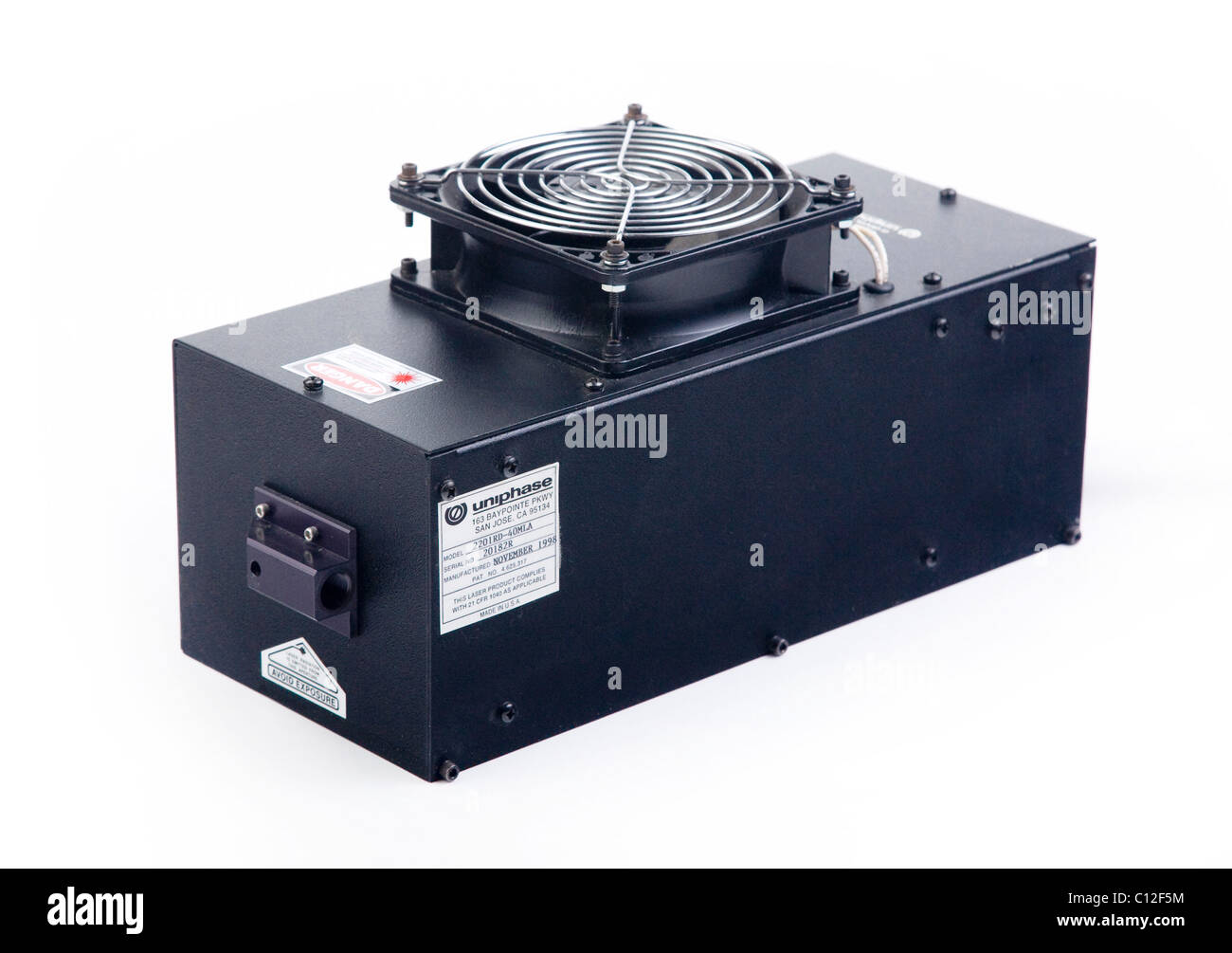 air cooled argon gas laser head output 40mW 457-512nm multiline wavelengths - Stock Image
