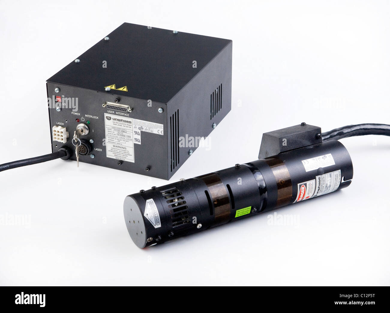 air cooled argon gas laser head output 40mW 457-512nm multiline wavelengths with power supply - Stock Image