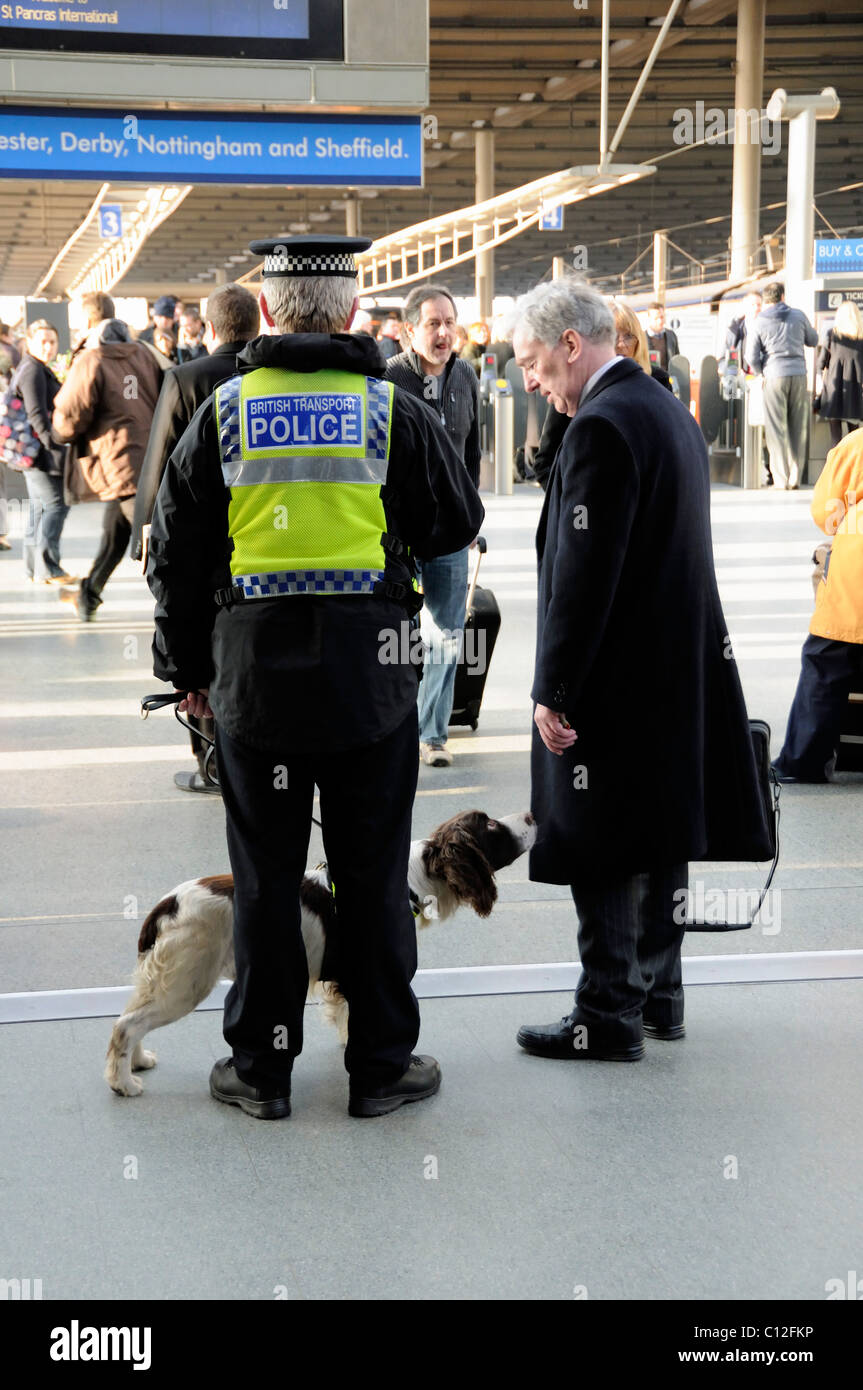 British Transport Policeman with Sniffer Dog sniffing the coat of an innocent traveler St. Pancras Station London - Stock Image