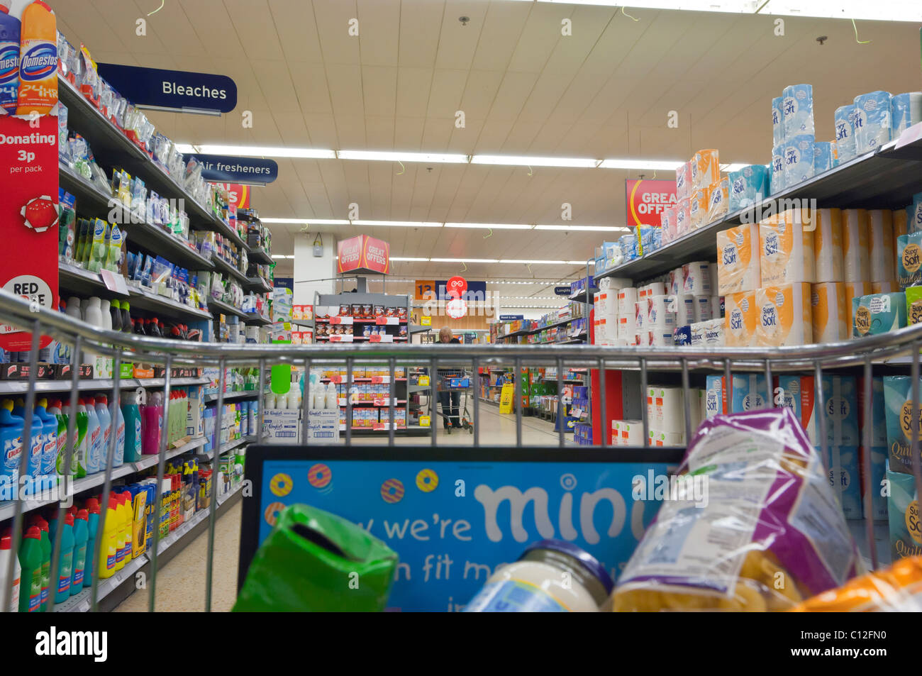 Shopping in Sainsbury's supermarket with camera in the trolley in the Uk - Stock Image