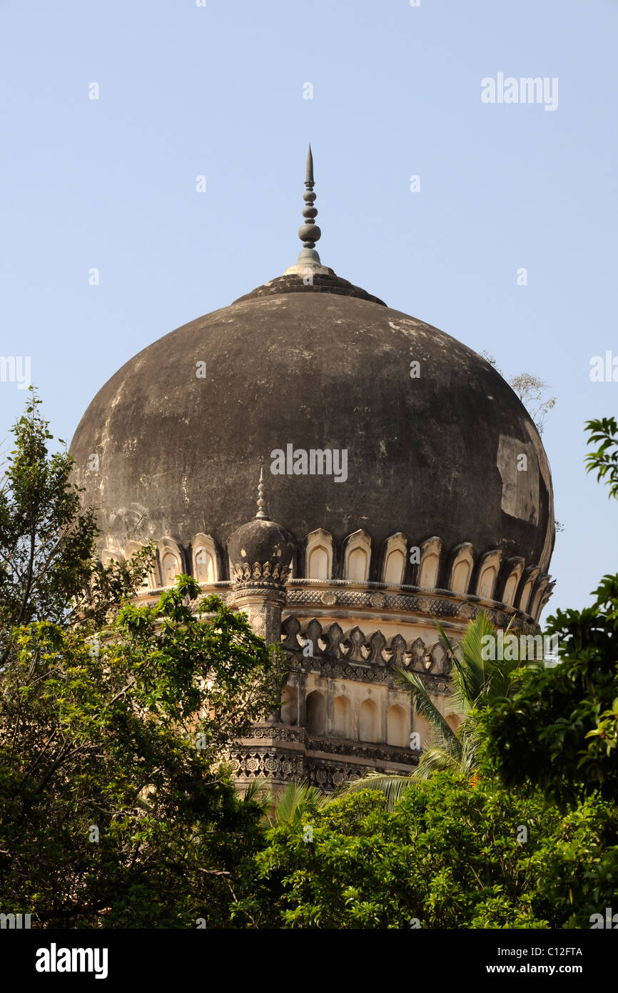 Tomb of Mohammed Quli Qutb Shah, at theTombs of the Qutb Shahi Kings, Hyderabad, - Stock Image